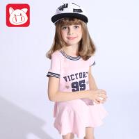 小猪班纳童装女童公主群2018夏装新款儿童连衣裙女中大童运动裙子