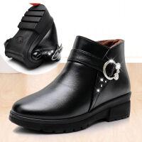 新软底妈妈棉鞋老北京中老年软底软皮防滑棉靴加绒保暖靴子女皮鞋 35 标准码子