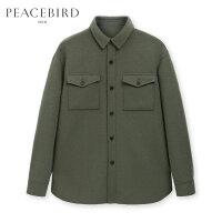 【开学季新品首降,到手价:609元】太平鸟男装 2019冬季新款军绿色毛呢夹克外套男宽松