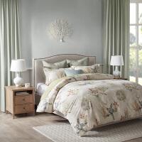 美式全棉磨毛四件套纯棉家纺床上用品被套床单 砖红色/深蓝色