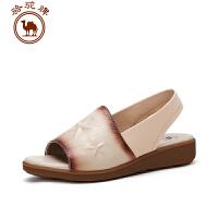 骆驼牌女鞋 夏季新款女士 凉鞋套脚露趾休闲鞋舒适坡跟凉鞋