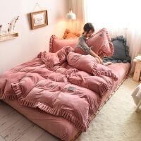 加厚冬季保暖宝宝绒四件套纯色 莱绒升级床上用品