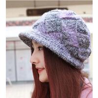 女士加厚加绒羊毛针织毛线帽 手工针织时尚妈妈帽盆帽渔夫帽宽帽