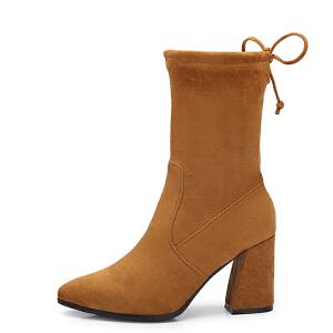 camel/骆驼女鞋 2017秋冬新款 性感尖头高跟靴中筒靴女粗跟靴子
