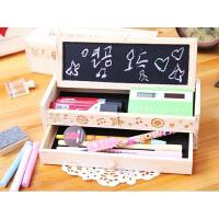 韩国双层铅笔盒 DIY木制小黑板带抽屉文具盒 木质笔筒收纳盒 铅笔盒