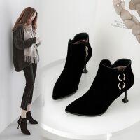 靴子女秋冬新款小短靴百搭细跟马丁靴韩版高跟猫跟短靴女尖头保暖