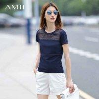 【到手价53元】Amii[极简主义]夏菱格纹镂空拼接圆领短袖T恤大码T