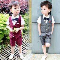 男童西装马甲套装韩版潮3夏季4花童儿童礼服小主持人服装5-6周岁7