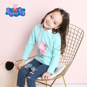 小猪佩奇正版童装女童春装长袖圆领T恤女宝宝卡通小猪纯棉打底衫上衣