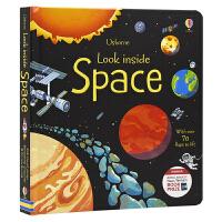【首页抢券300-100】Usborne Look Inside Space 偷偷看里面系列 翻翻书立体书纸板书 太空科