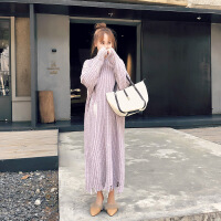 针织连衣裙女韩版2018新款秋冬季加厚打底长款过膝温柔风毛衣裙子 浅紫色 均码