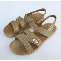 夏季女塑料中老年妈妈老人凉鞋平跟露趾台百搭女士一体鞋