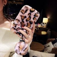 秋冬毛绒xsmax苹果X手机壳7plus潮牌iphone8豹纹6s新款挂绳女 6/6S 4.7寸 粉色