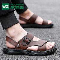 【领券立减20】木林森新款夏季室外休闲男士拖鞋两用潮流个性外穿沙滩鞋男士凉鞋男