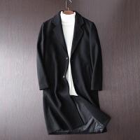冬季韩版潮流羊毛呢子大衣男士中长款宽松过膝落肩妮子外套风衣