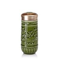 乾唐轩活瓷飞跃麒麟随身杯陶瓷水杯子带盖礼品
