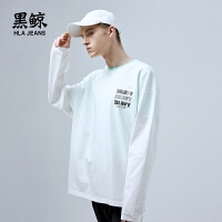 黑鲸 字母印花长袖T恤男2019春季新品休闲圆领上衣男