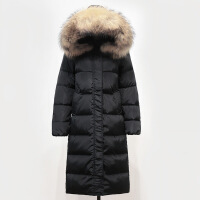 冬季韩版真毛领羽绒服女中长款过膝长款2018新款加厚大码冬装外套 黑色+本色貉子毛领 S