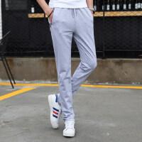 男士运动裤长裤薄款休闲裤青少年黑色针织裤直筒裤跑步卫裤