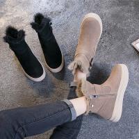 ins短靴女2018新款瘦瘦靴子韩版百搭学生棉鞋加绒真皮雪地靴