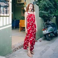 露背沙滩裙夏季绑带波西米亚开叉中长裙海边度假连衣裙女 红色 现货