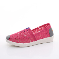 坡跟夏季新款小白鞋 镂空透气网面女单鞋 老北京布鞋女鞋工作鞋