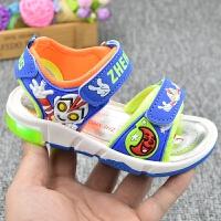 2019年夏季男童凉鞋奥特曼儿童沙滩鞋3-4-5-6岁超人闪亮灯露趾透气轻便童鞋学生个性户外运动鞋 蓝色(806款 3