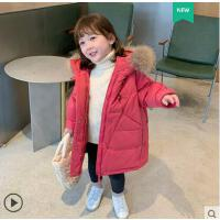 户外洋气宝宝小童外套女童中长款羽绒服 新款90白鸭绒儿童女孩保暖外套