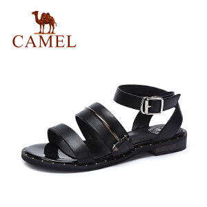 Camel/骆驼女鞋  夏季新款 休闲百搭低跟罗马凉鞋 皮带扣凉鞋