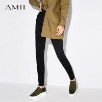 【到手价:102元】Amii极简黑色铅笔裤女小脚裤2019春新款高腰修身百搭弹性休闲长裤