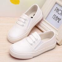 儿童纯白色帆布鞋一脚蹬防滑球鞋男童女童运动板鞋学校学生白布鞋 白色 -偏小一码