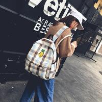 书包女韩版帆布包女双肩包小清新百搭大容量初高中大学生格子书包