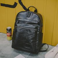 2018新款男士双肩包韩版背包潮流大学生书包电脑皮包大容量潮流商务包 黑色(USB+耳机孔) 现货