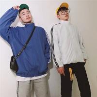春季新品韩版男款清新三杠条纹长袖立领棒球服学生运动衣夹克