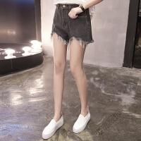 200斤大码女装韩版牛仔短裤子 胖妹妹学生百搭毛边热裤潮 如图色