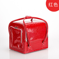 韩国简约大容量手提便携化妆包工具箱多层纹绣跟妆半皮质