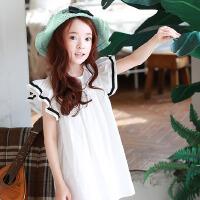 韩版童装公主裙夏装新品女童连衣裙飞飞袖沙滩童裙