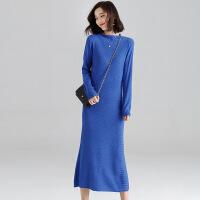 超长款毛衣女中长款2018新款韩版秋冬季加厚打底衫宽松毛衣裙过膝 蓝色 XS