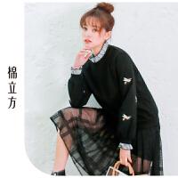 卫衣女长袖宽松学生棉立方2019春季新款韩版套头拼接假两件上衣