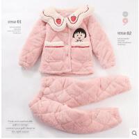 冬季珊瑚绒三层夹棉加厚款女童宝宝法兰绒保暖家居服套装儿童睡衣
