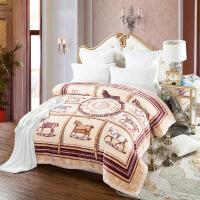 御目 毛毯 简约家用柔软双层安哥拉毯加厚冬季双面绒毯婚庆礼品珊瑚绒毯子满额减限时抢床上用品