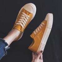 新款复古帆布鞋女学生韩版百搭ulzzang布鞋港风板鞋小黑鞋子
