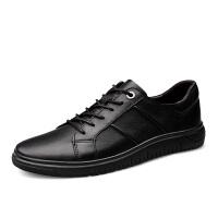 小码35码36码37码男鞋潮黑色小脚板鞋韩版耐磨系带男士休闲皮鞋夏季百搭鞋 黑色