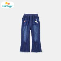 【1件2折】马卡乐女宝宝牛仔长裤女童弹力喇叭裤版型219年冬新款