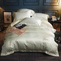 床单四件套全棉纯棉水洗欧式简约欧美风冰丝滑被套