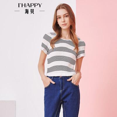 海贝夏季新款女装上衣 休闲圆领撞色条纹褶皱修身短袖套头T恤