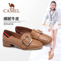 Camel/骆驼女鞋 2018春季新品 时尚舒适金属扣饰个性方跟单鞋女