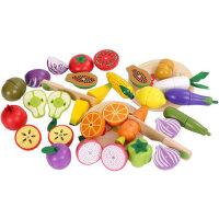 儿童水果蔬菜切切乐 磁性木质磁铁过家家玩具 木制宝宝切水果玩具套装