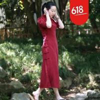 原创红色五分袖连衣裙 复古盘扣古典修身丝滑改良旗袍GH109 红色(偏小一码)