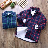 男童衬衫冬季格子秋冬款保暖儿童衬衣男长袖